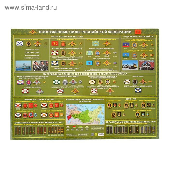 Плакат настольный. Вооруженные силы России, 59*43см, Кр632п
