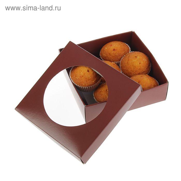 Коробка для сладостей 15 х 15 х 4,5 см, шоколад/шоколад