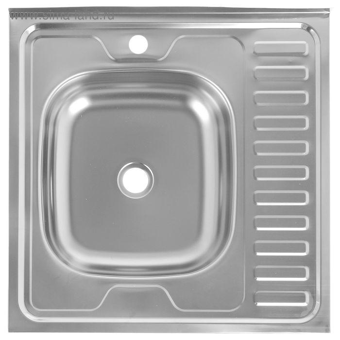 Мойка кухонная, накладная, нержавеющая сталь, 600х600 мм, левая