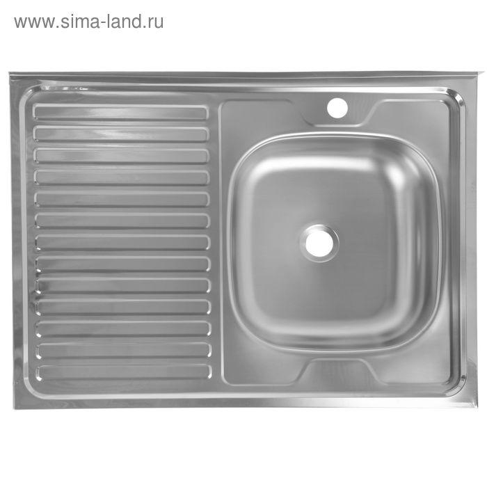 Мойка кухонная, накладная, нержавеющая сталь, 600х800 мм, правая