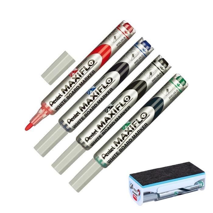 Набор маркеров для доски 4 цвета 4.0 мм Pentel Maxifl, магнитный держатель с губкой