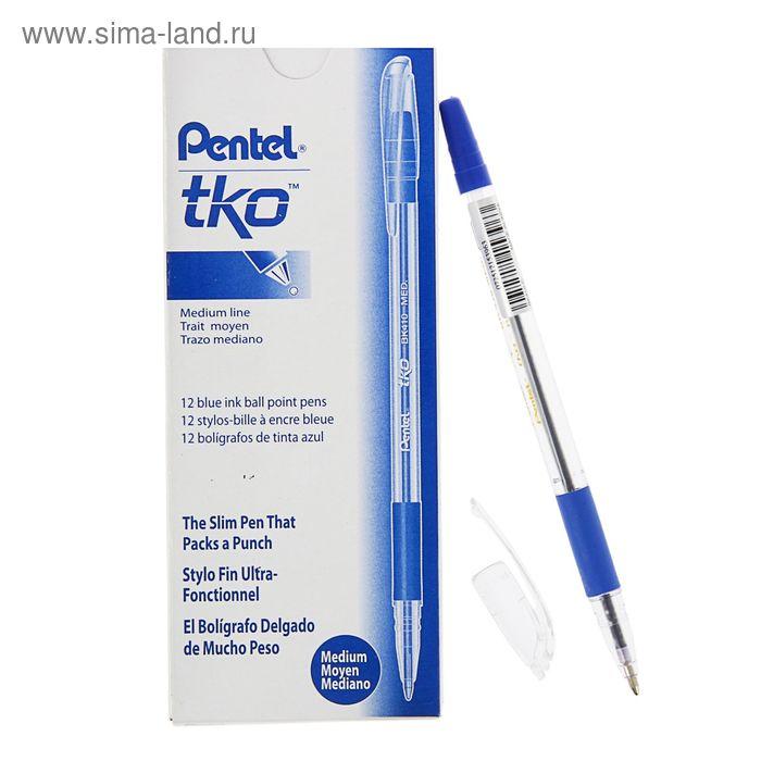 Ручка шариковая Pentel масляная основа TKO 410, резиновый упор, 1.0мм, синий стержень (BKL7)