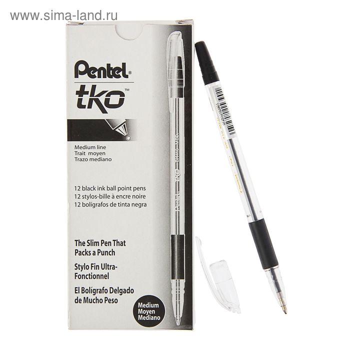 Ручка шариковая Pentel масляная основа TKO 410, резиновый упор, 1.0мм, черный стержень (BKL7)