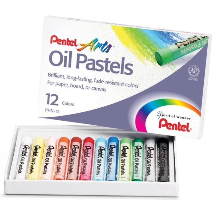 Пастель масляная 12 цветов Pentel 8/60мм, в картоне