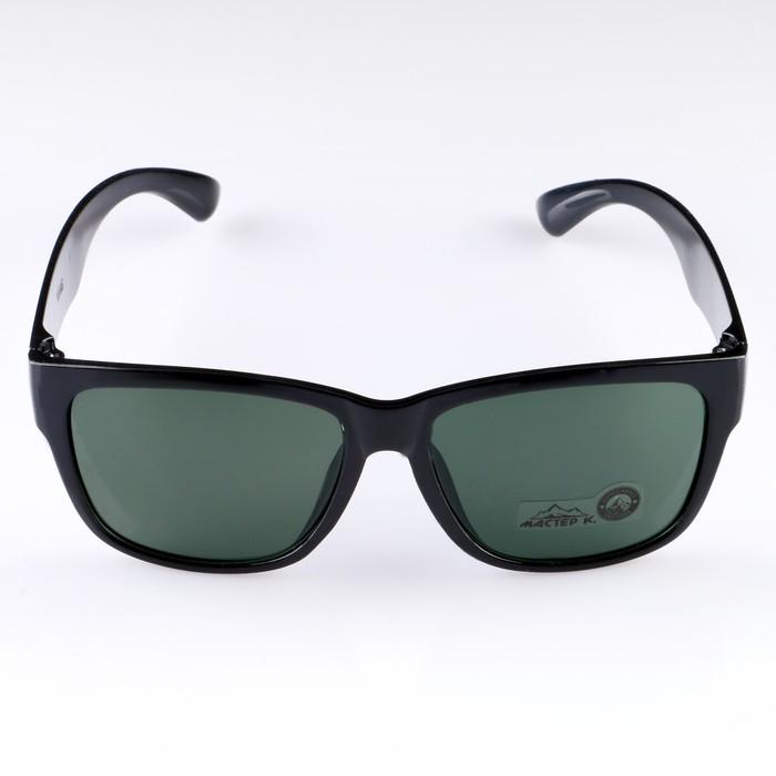 Очки солнцезащитные Wayfarer, оправа чёрная, линзы чёрно-зелёные