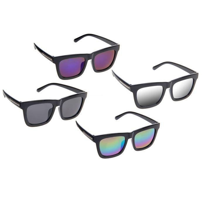 Очки солнцезащитные Square, оправа чёрная, дужки — вставка стрелка хром, линзы микс