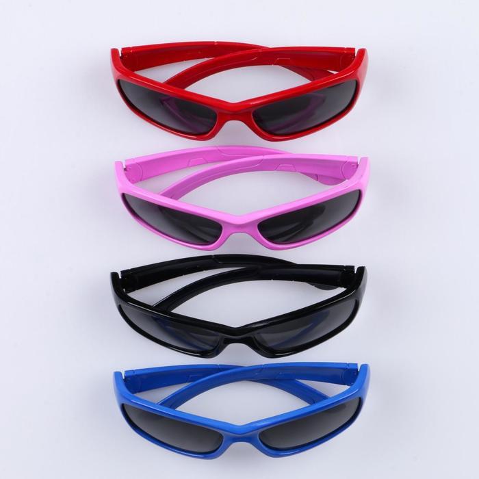 """Очки солнцезащитные детские """"Спорт"""", оправа МИКС, дужки круглые, линзы чёрные, 13 × 4.5 × 3.5 см"""