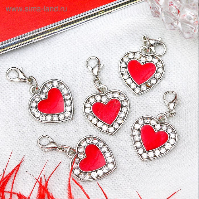 """Шармик """"Сердечко"""", цвет красно-белый в серебре"""