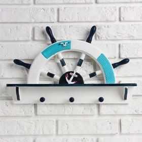 Вешалка интерьерная «Штурвал», 3 крючка, бело-синяя, 45 х 28 х 5 см - фото 4641545