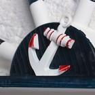 Вешалка интерьерная «Штурвал», 3 крючка, бело-синяя, 45 х 28 х 5 см - фото 4641546