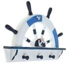 Вешалка интерьерная «Штурвал», 3 крючка, бело-синяя, 45 х 28 х 5 см - фото 4641548