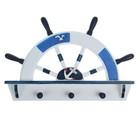 Вешалка интерьерная «Штурвал», 3 крючка, бело-синяя, 45 х 28 х 5 см - фото 4641549