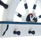 Вешалка интерьерная «Штурвал», 3 крючка, бело-синяя, 45 х 28 х 5 см - фото 4641550