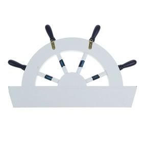Вешалка интерьерная «Штурвал», 3 крючка, бело-синяя, 45 х 28 х 5 см - фото 4641551