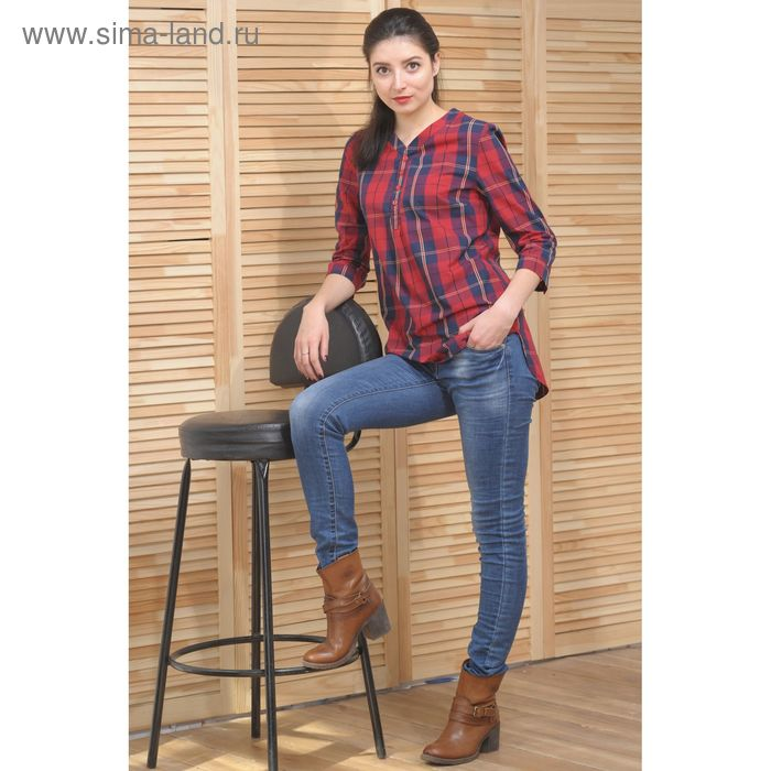 Блуза, размер 50, рост 164 см, цвет красный/тёмно-синий (арт. 4889а С+)