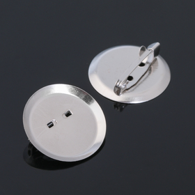 Pin brooch with round base SM-367 (set of 5pcs) 25 mm color silver