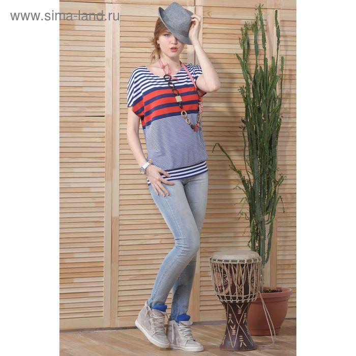 Блуза, размер 50, рост 164 см, цвет тёмно-синий/белый/красный (арт. 4733 С+)