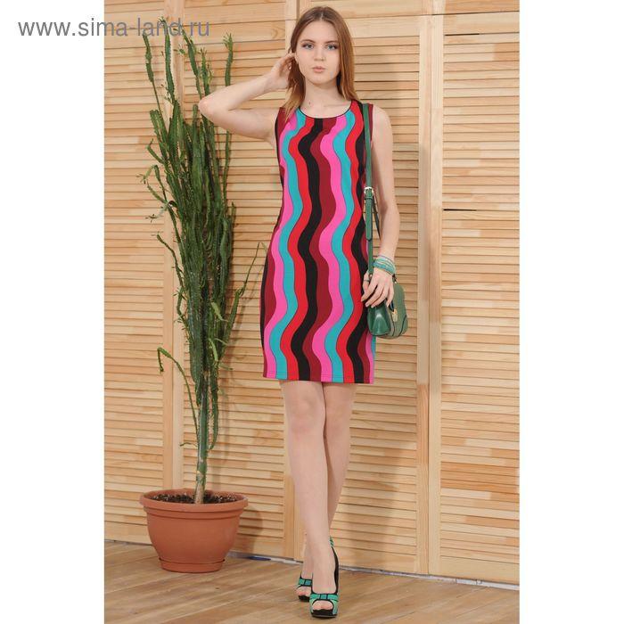 Платье 4859а, размер 42, рост 164 см, цвет красный/голубой/малиновый