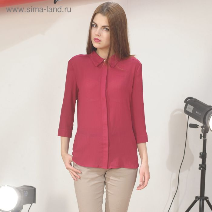 Блуза 4887г, размер 46, рост 164 см, цвет бордовый