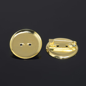 Pin brooch with round base SM-367 (set of 5pcs) 25 mm, color gold