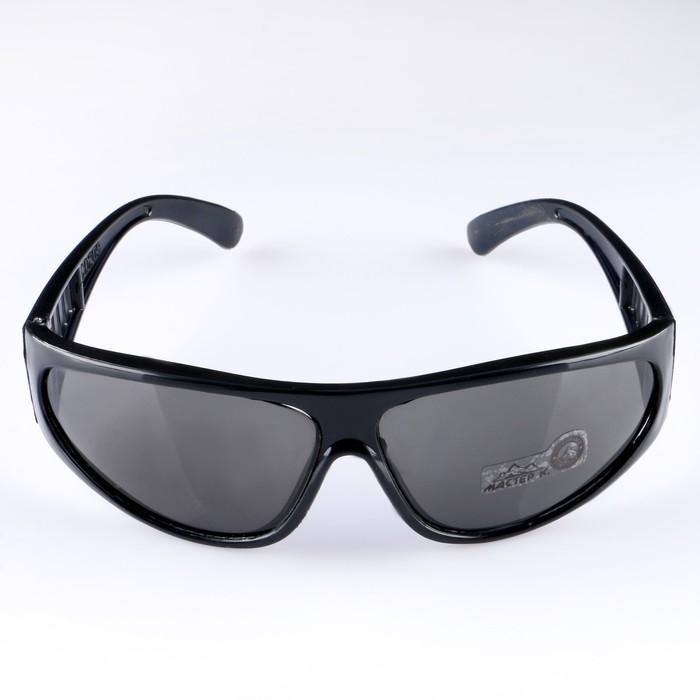 Очки солнцезащитные спортивные, оправа чёрная, дужки с прорезями, линзы чёрные
