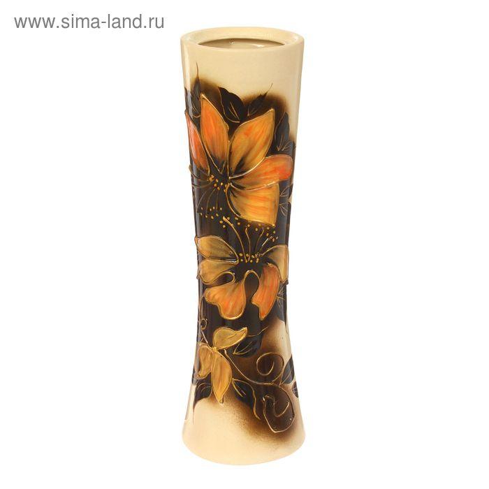"""Ваза """"Марика-Росса"""" жёлтые цветы, золото, ангоб"""