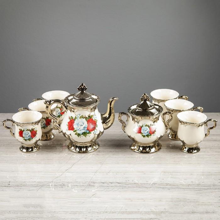 "Чайный набор ""Валтасар"" белый, розы, 8 предметов, чайник 0.8 л, сахарница 0.5 л, 6 чашек 0.25 л"