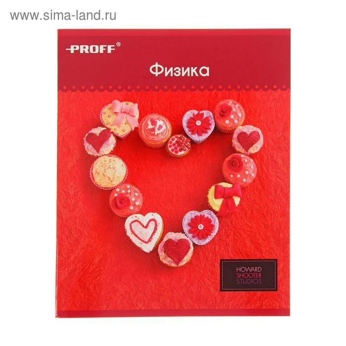 """Тетрадь предметная Hearts 48 листов клетка """"Физика"""", картонная обложка, двойной лак"""
