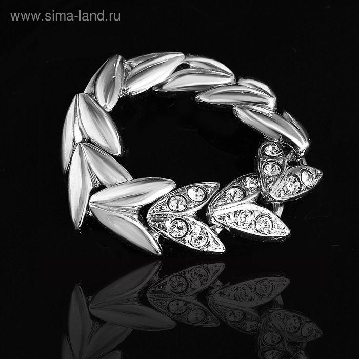 """Кольцо """"Вьюнок"""", размер 19, цвет белый в серебре"""