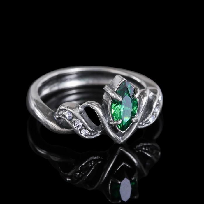 """Кольцо """"Альсена"""", размер 16, цвет бело-зелёный в чернёном серебре"""