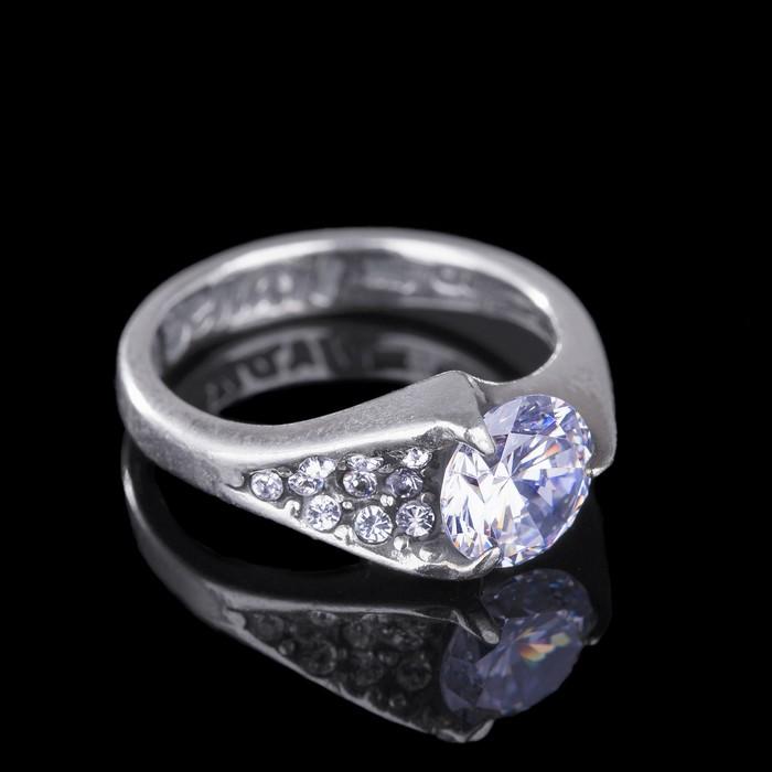 """Кольцо """"Росинка"""", размер 16, цвет белый в чернёном серебре"""