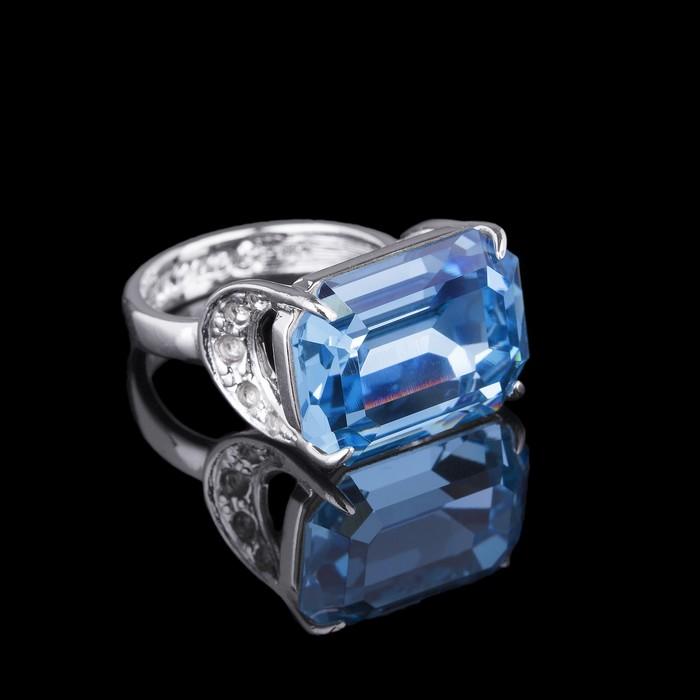 """Кольцо """"Шквал"""", размер 18, цвет бело-голубой в серебре"""