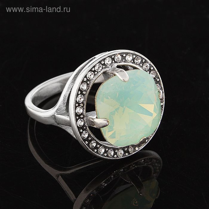 """Кольцо """"Донна"""", размер 17, цвет молочно-зелёный в чернёном серебре"""