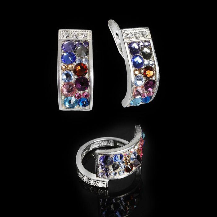 """Гарнитур 2 предмета: серьги, кольцо """"Кобра стр."""" размер 19, цветной в серебре"""