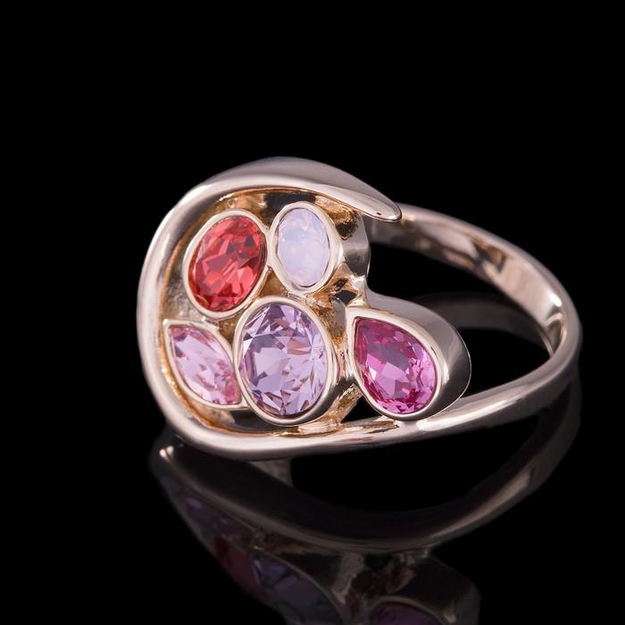 """Кольцо """"Сорбе"""", размер 18, цветной в золоте"""