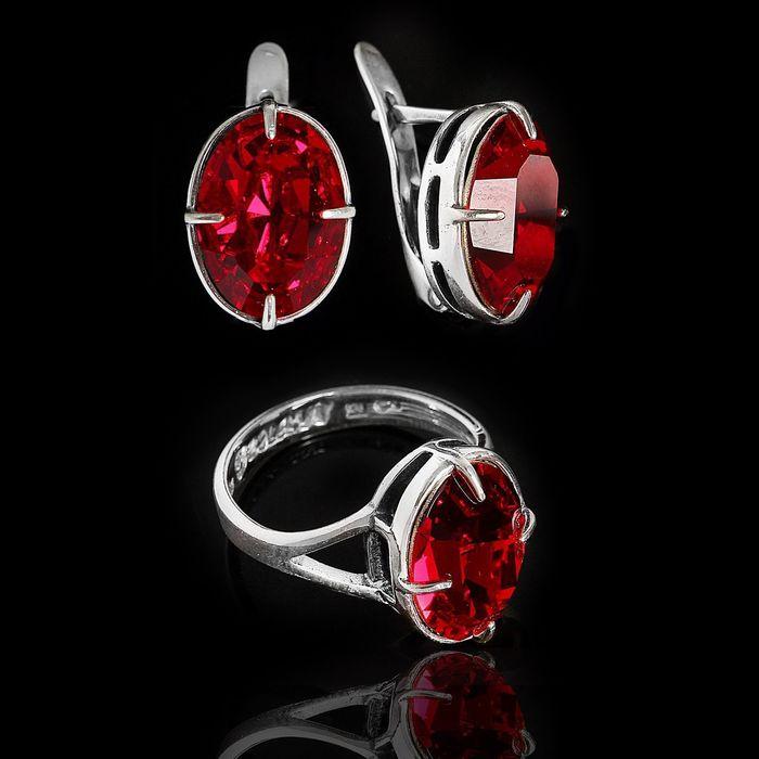 """Гарнитур 2 предмета: серьги, кольцо """"Иллер"""", размер 16, цвет красный в чернёном серебре"""