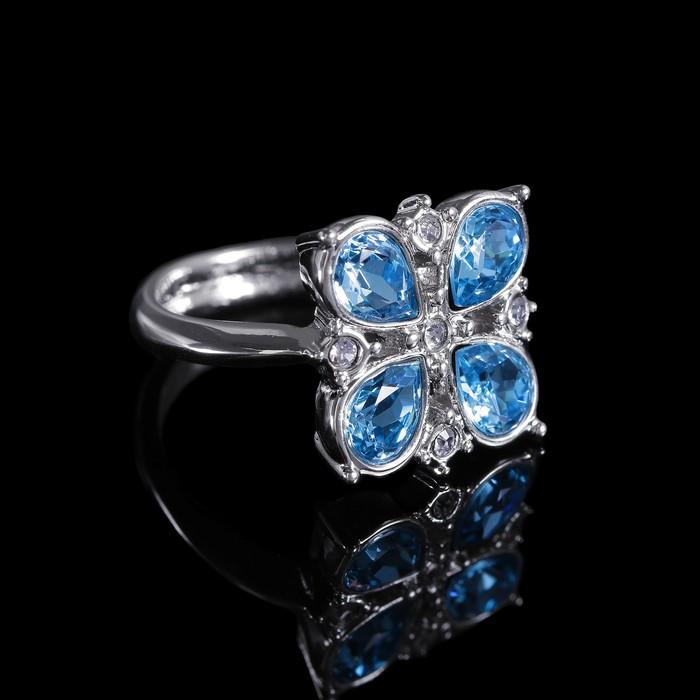 """Кольцо """"Гольфстрим"""", размер 17, цвет голубой в серебре"""