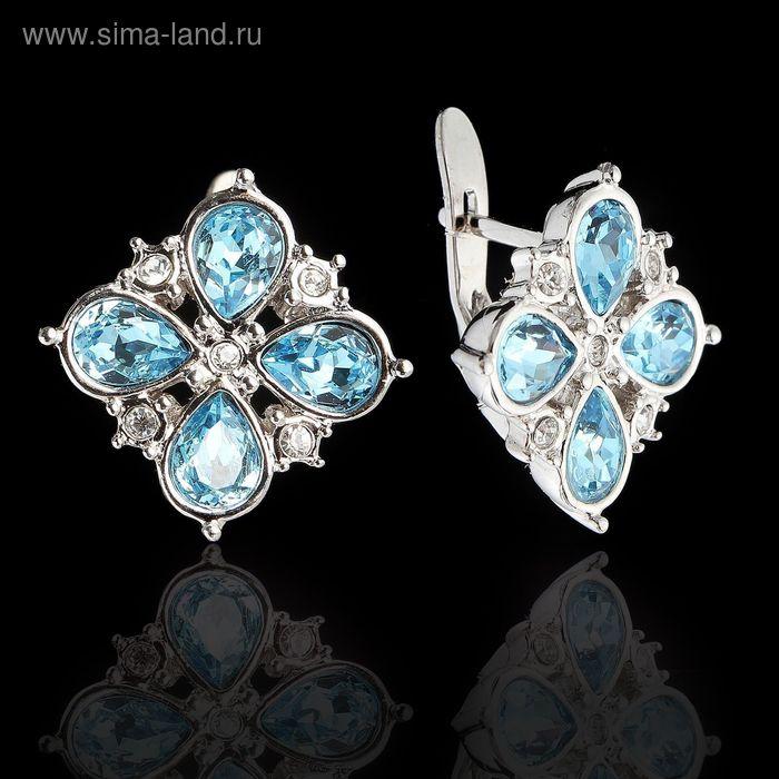 """Серьги """"Гольфстрим"""", цвет бело-голубой в серебре"""