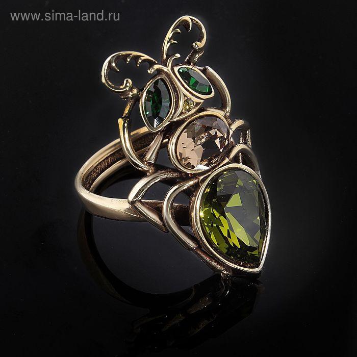 "Кольцо ""Муравей"", размер 19, цвет оливково-бронзовый"