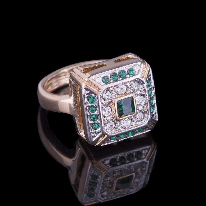 """Кольцо """"Юрстэ"""", размер 16, цвет бело-зелёный в золоте"""