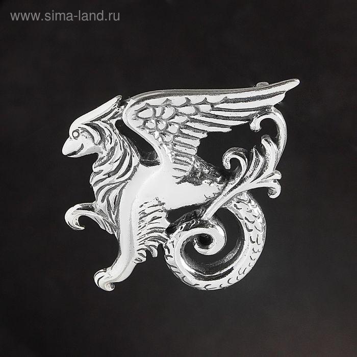 """Брошь """"Вайверн"""", цвет чернёное серебро"""
