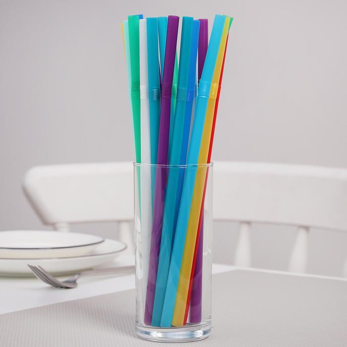 Набор трубочек с изгибом 8х240 мм Jambo, цветные, 100 шт в упаковке