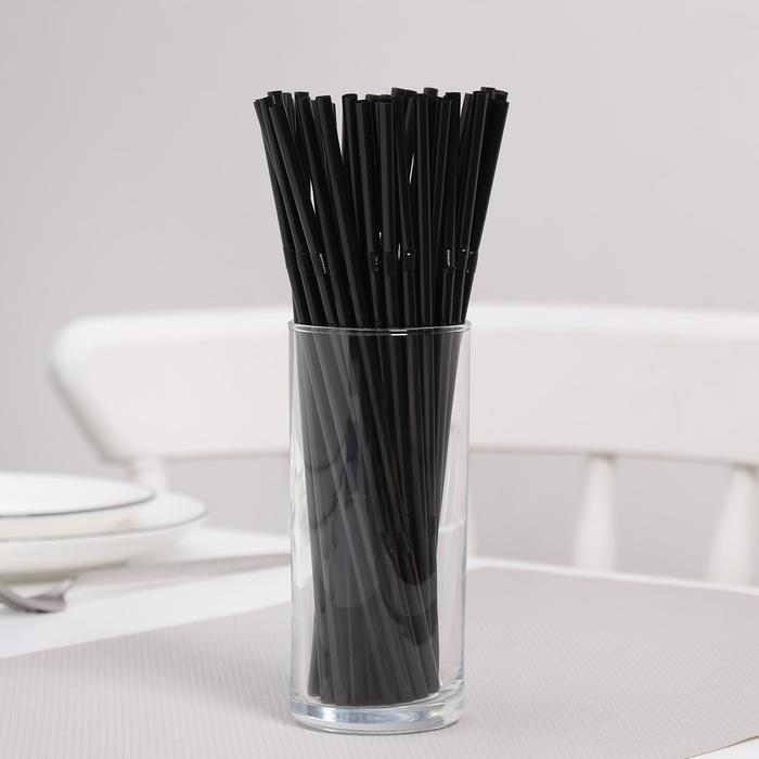 """Набор трубочек для коктейля 5х210 мм """"Доляна"""", с гофрой, цвет черный, 100 шт в упаковке"""
