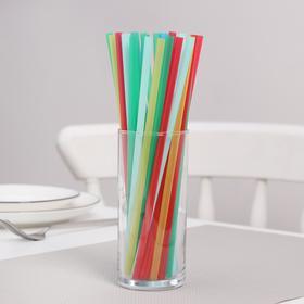 Набор одноразовых трубочек для коктейля «Кола», 6×205 мм, цветные, 1000 шт/уп