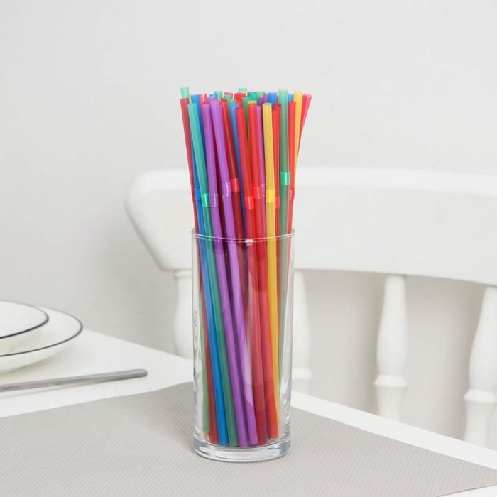 """Набор трубочек для коктейля 5х210 мм """"Доляна"""", цвет МИКС, 250 шт в упаковке"""