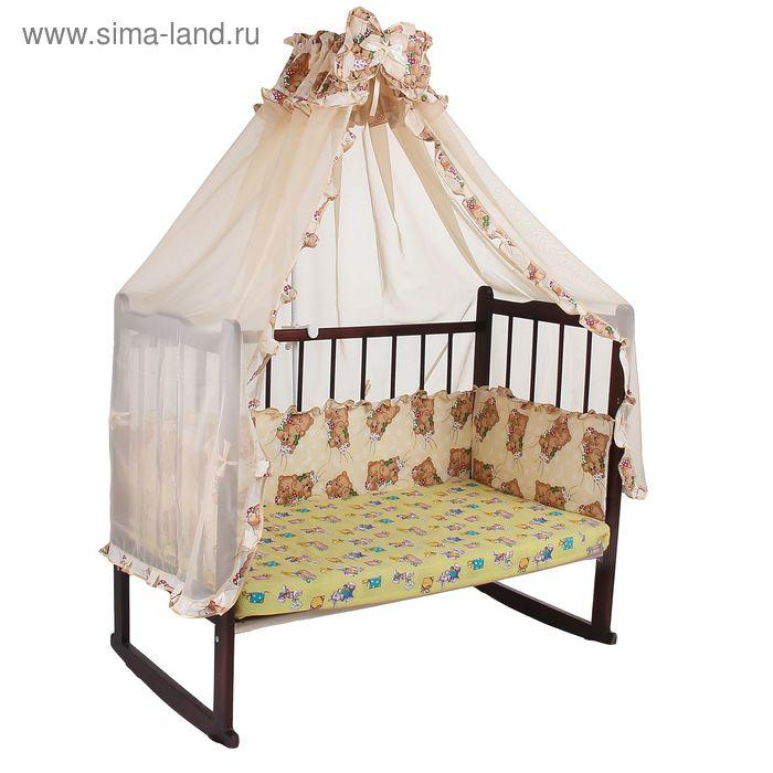 """Комплект в кроватку """"Спящие мишки"""" (2 предмета), цвет бежевый с рюшей (арт. 1532)"""