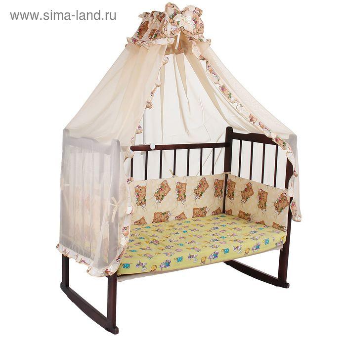 """Комплект в кроватку """"Спящие мишки"""" (2 предмета), цвет бежевый (арт. 1522)"""