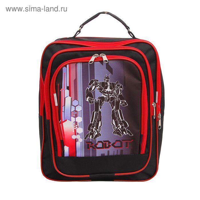 """Рюкзак школьный на молнии """"Робот"""", 2 отдела, 2 наружных кармана, красный/чёрный"""