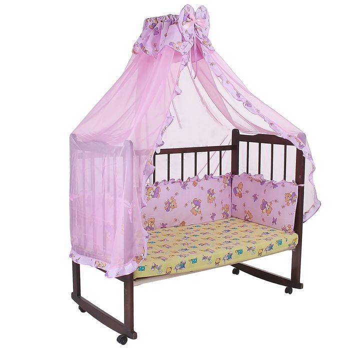 """Комплект в кроватку """"Мишки с мёдом"""" (2 предмета), цвет фиолетовый с рюшей (арт. 1552)"""