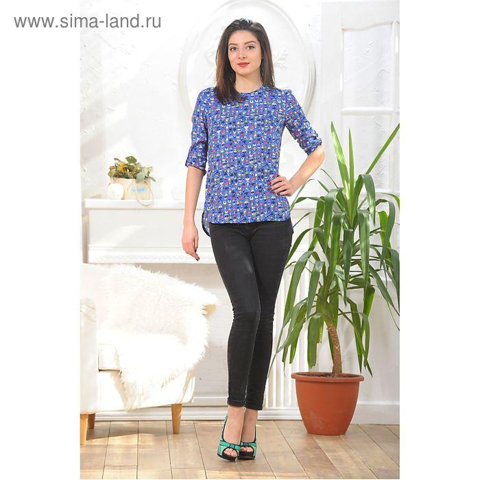 Блуза, размер 46, рост 164 см, цвет синий/жёлтый (арт. 4888)